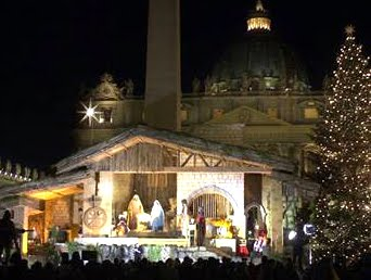 Vatican Nativity Scene with Filipino Statues